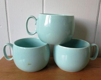 3 vintage light aqua ceramic cups