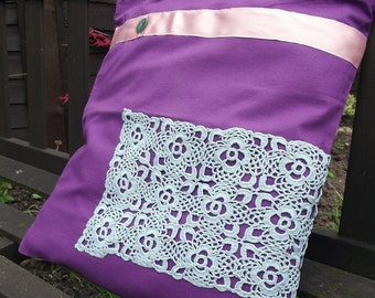 Vintage Lace covered Tote Bag - useful reusable shopping bag - Mavis - purple, pink and blue
