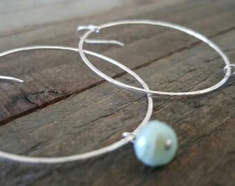 Sterling Silver Hoops, Hoop and Stone Earrings, Hoop Earrings