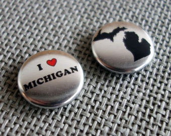 "Metallic ""I Heart Michigan"" Magnets - Set of Two"
