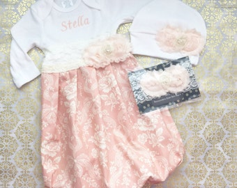 SHABBY CHIC lace and pearls embroidered Baby GOWN --- new baby-- coming home hospital outfit....girls clothing
