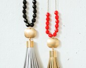 Tassel and Brass Pendant Bead Necklace- Holiday Gift, Gift for her, gift under 50