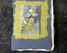 Handmade Sketch Book embellished with Hand made Felt in Lime Green  & Sea Glass