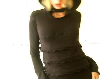 RUFFLED LONG SLEEVE top hoody best selling trending items womens clothing long sleeve shirts top black hoody handmade hooded top