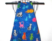 Child's Apron Ages 3 thru 8 Cats on Blue  Reversible Adjustable