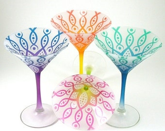 SUMMER SALE Martini Glasses - Vesuvian Flower - Set of 4 - Frosted and Custom Painted Glassware
