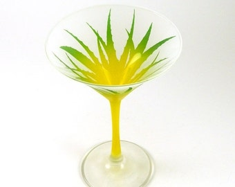 SUMMER SALE Wild Agave Martini Glass - Frosted and Painted Glassware - Personalized Custom Barware