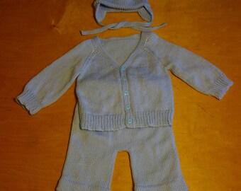 Baby boy, 6/9 months, 3 piece set, hand knitted.