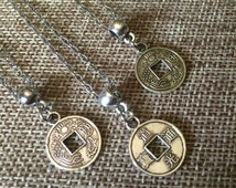 STOREWIDE     SALE Tiny Chinese Coin Necklace - Silver Chinese Coin Necklace with Kanji on Thin Silver Chain - Layering Necklace