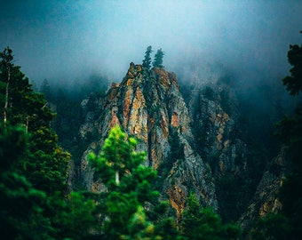 Wasatch Mountains, Landscape Photography, Fog Photos, Nature Fine Art, Utah, Mountain, Mist, Blue and Green, Moody Wall Art, Photography,