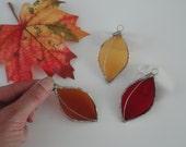 Set of 3 Stained Glass Autumn Leaves, Home Decor, Garden, Fairy Garden, Sun Catcher, Window Hanging, Wedding Favor, Fall Decor, Tree,Nature