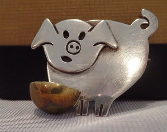 Sterling Silver Pig with Bowl Pin
