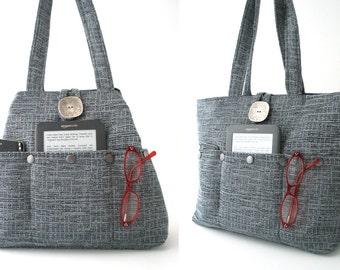 blue tote bag, large tote bag, shoulder bag, oversized tote bag, womens handbag,  fabric tote bag, shoulder tote bag