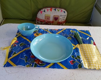 Colorful Oil Cloth Quilted Placemat #9
