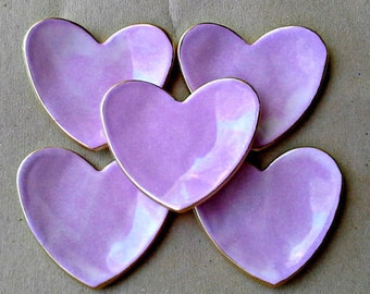 FIVE Bridal Shower wedding Baby shower favors ceramic hearts  Lavender Ceramic Heart ring bowls  edged in gold itty bittys
