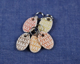 Stitchmarkers, Oval Porcelain Warm Colors
