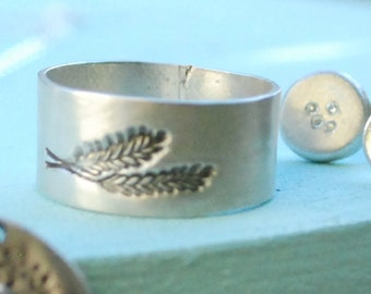 FERN wedding ring, wide band, eco-friendly silver, Illustration by BOYGIRLPARTY. Handcrafted by Chocolate and Steel nature love leaf