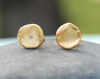 Morning Dew Studs, earrings, silver Personalized.  Handcrafted handmade by artisan Chocolate and Steel small organic studs
