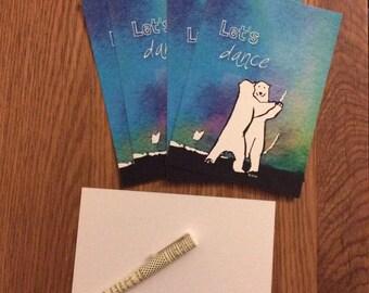 Let's Dance Polar Bears postcard