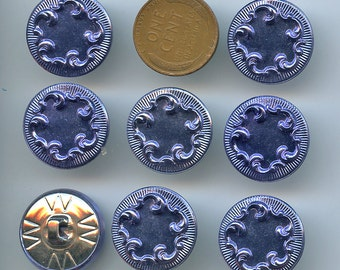 Set of 8 Matching Royal Blue Colored Metal Buttons 3/4 inch size Rococo Design 2269