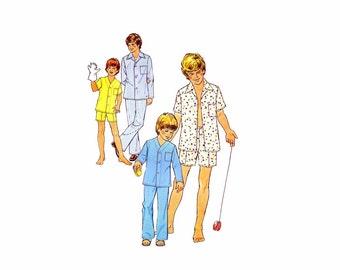 1970s Simplicity 6427 Boys Pajamas Top Pants Bottoms Vintage Sewing Pattern Size 10 - 12