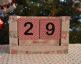 Perpetual Wooden Block Calendar - Pink and Gray Party Banners - Bunting Flags