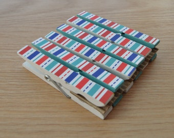 Clothespin Clips Set of 6 -Patriotic Blue and Red Stripes - Optional Magnets