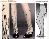 15%SALE/endsAUG30/ Small/ Medium  fabulous FOREST Symphony tattoo  stockings /  full length  / pantyhose / nylons Ultra Pale