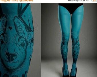 15%SALE/endsAUG30/ Tattoo Tights -  turquoise one size Triple Deer full length printed tights closed toe pantyhose tattoosocks tattootights