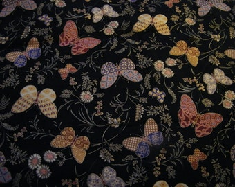 Cotton Oriental Gardens by Artistic Impressions, black, butterflies, metallic gold, plants, flowers