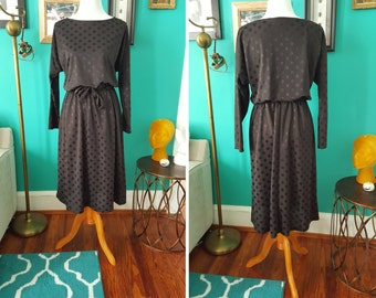 Vintage Black on Black Polka Dot Dress L XL