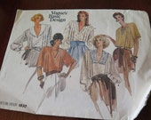 Vintage 80s Vogue 1832 Misses Loose Fitting Blouse Sewing Pattern size 14 16 18 UNCUT