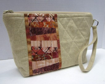 Linen Patchwork Stripe Quilted Wrist Purse - CLEARANCE SALE