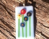 Fused Glass Millefiori Flower Pendant