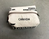 Vintage Canadian Mint Money bag repurposed to a toiletry bag.