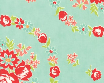 """23"""" piece/remnant - Handmade - June in Aqua: sku 55140-12 cotton quilting fabric by Bonnie and Camille for Moda Fabrics"""