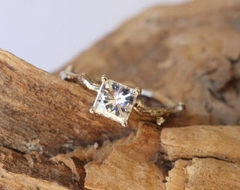 Princess Cut Moissanite Branch Ring
