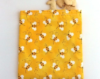 Reusable Snack and Sandwich Bag in Honey Bees, Bumble Bees