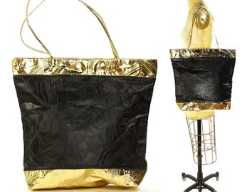 90s Artsy Gold & Black Shopper Tote / Vintage 1990s Large Shoulder Bag with Embossed Abstract Pattern / Vegan Carry All with Zipper