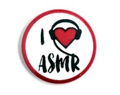 I heart ASMR One Inch Pinback Button, Magnet, or Keychain