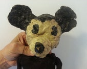 Rare! One of a kind, antique handmade papier mache Mickey Mouse marionette/puppet, very unusual, works fine, such a wonderful display piece!