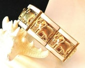 COLUMBUS DAY SALE Elephant Bracelet, Vintage White With Gold Elephant Bracelet, Stretchable Elephant Bangle Bracelet, Christmas Gift