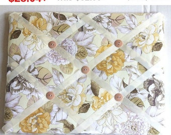 Back To School Beige Flowers Memory Board French Memo Board, Waverly Shades Of Brown Photo Board, Ribbon Pin Board, Ribbon Photo Board, B...