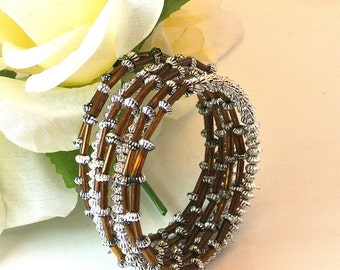 Bead Wire Bracelet, Brown and Silver Bead Wire Cuff Bracelet, Boho Wire Bracelet, Vintage Bead Cuff Bracelet, Christmas Gift