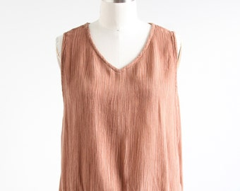 Vintage Brown Crinkle V-neck Tank