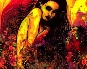 Abstract Female Nude - Pop Surrealism - Female Figure - Contemporary Art print reproduction by Aja 9x12 18x24 choose size Fallout