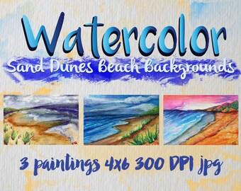 Three Watercolors Beach Sand Dunes Clip Art 300 DPI jpg original paintings by Candace Byington