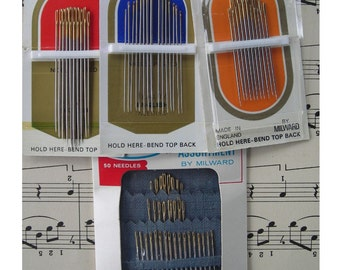 Four Vintage Packages of Sewing Needles