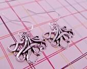 Silver Octopus Earrings Kraken Pierced