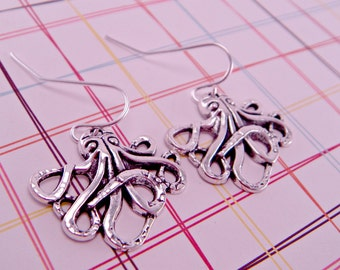Silver or Brass Octopus Earrings Kraken Pierced